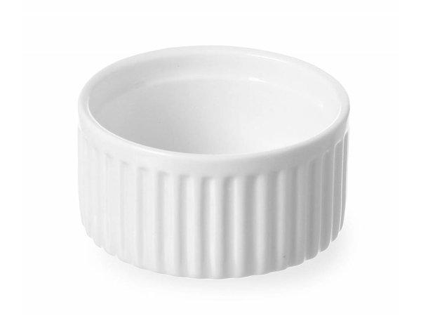 Hendi Auflaufförmchen Ribbed - 70x70x35 mm - Weiß - Porzellan