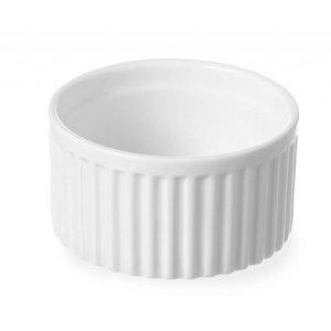 Hendi Ramekin Ribbed - 90x90x48 mm - White - Porcelain