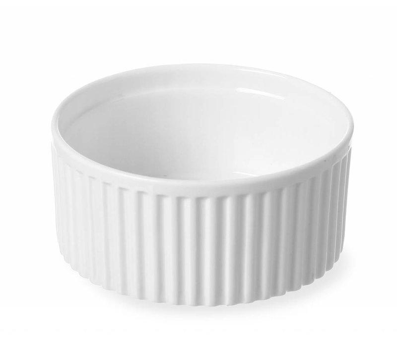Hendi Ramekin Ribbed - 120x120x55 mm - White - Porcelain