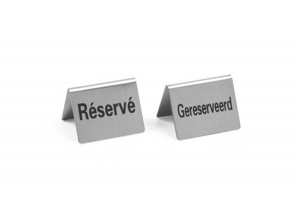 Hendi Tafelstandaard Gereserveerd - Reserve rvs 52x40 mm set 4