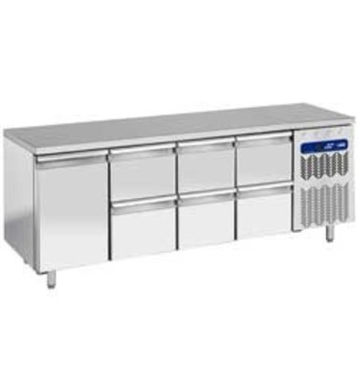 Diamond Coole Workbench - RVS - 225x70x (h) 90cm - 1 Tür + 6 Schubladen 550 Liter