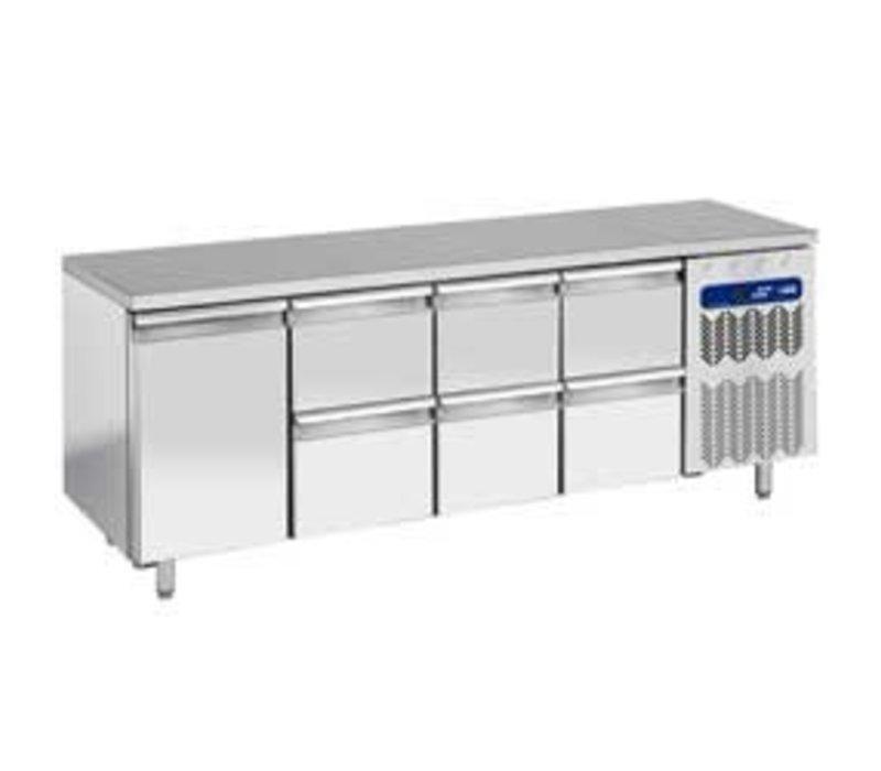 Diamond Coole Workbench - RVS - 225x70x (h) 90cm - 1 Tür + 6 Schubladen 550 Liter