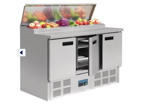 Polar Rvs Pizza/Sandwich Counter - 3-Deurs - 135x70x(h)99cm