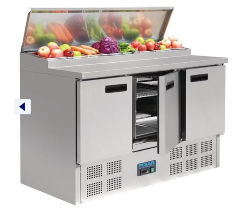 Polar Stainless steel Pizza / Sandwich Counter - 3-Door - 135x70x (h) 99cm