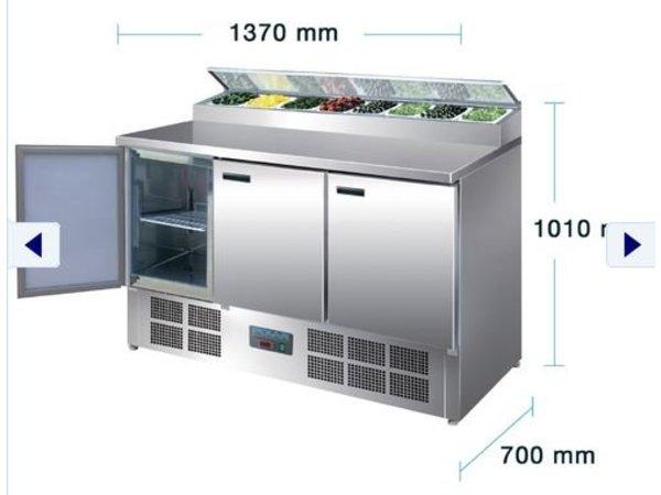 Polar Edelstahl-Pizza / Sandwich Zähler - 3-Türer - 135x70x (h) 99cm