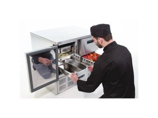 Polar Cool Workbench - RVS - 90x70x85 (h) cm - 1 door + 2 drawers - Wheels