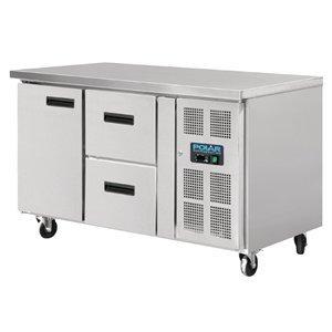Polar Coole Workbench - RVS - 136x70x86 (h) - 1 + 2 Tür Laden - Wheels