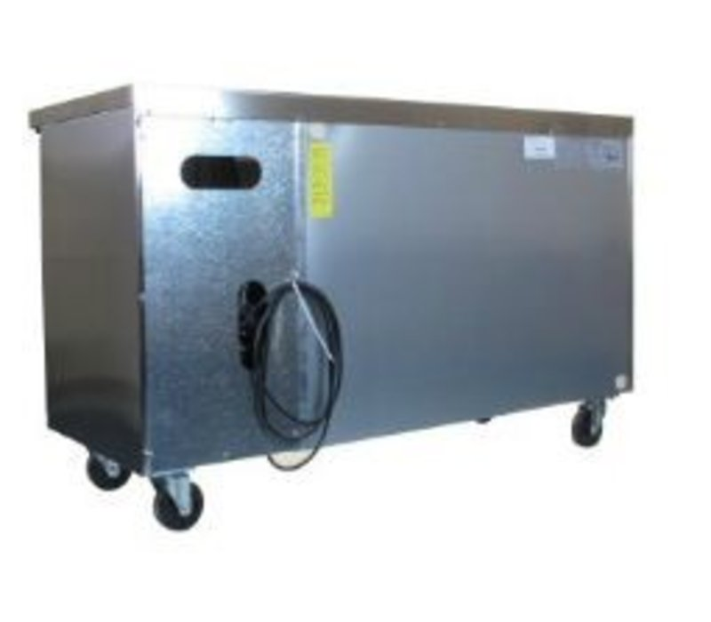 Polar Freeze Workbench Stainless Steel on Wheels - 2 Doors - 282 Liter | -10 ° C to -20 ° C | 136x70x (h) 86
