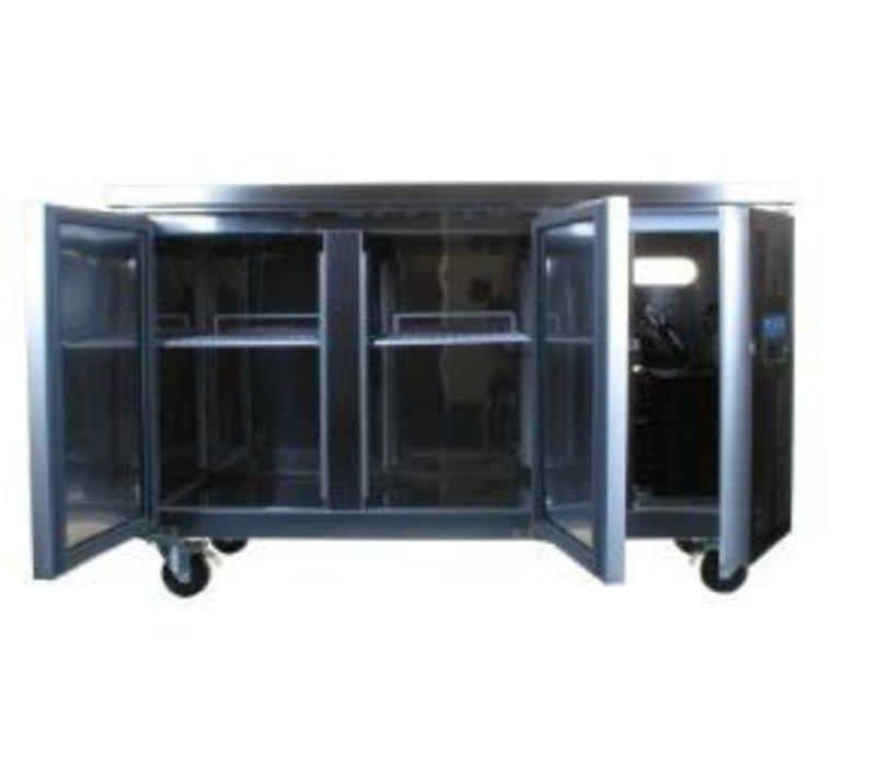 Polar Freeze-Workbench Edelstahl auf Rädern - zwei Türen - 282 Liter   -10 ° C bis -20 ° C   136x70x (h) 86