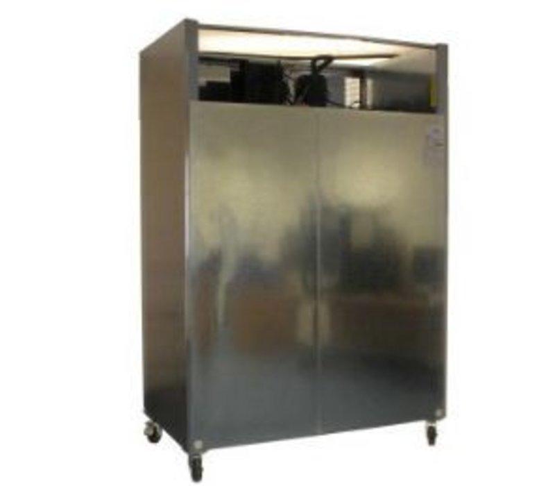 Polar Stainless Steel Double Freezer on Wheels - 81x134x (h) 200cm - Double Door - 1200 Liter - 2/1 GN