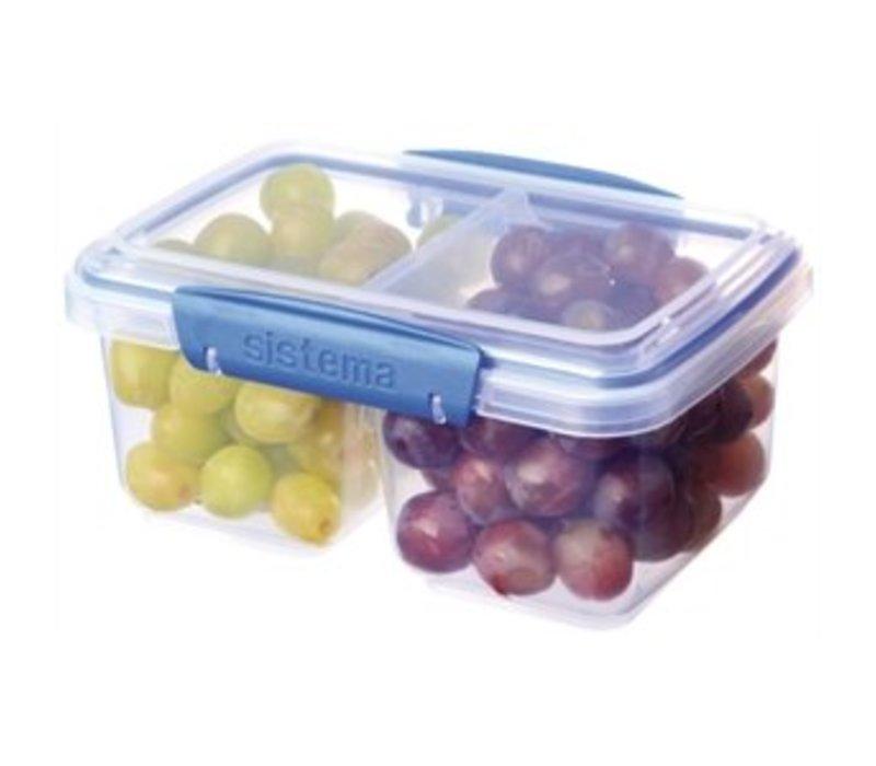 XXLselect Klip-It VoedselBox | Gesplitste Basis | Stapelbaar | 18x12x8cm | 1 Liter