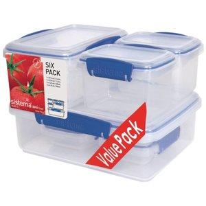 XXLselect Clip-it Reihe von insgesamt sechs Nahrungsmittelkästen | Stapelbar | 1x2 Liter | 1x1 Liter | 2x0,4 Liter | 2x0,2 Liter