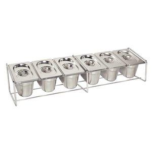 XXLselect GN Bakhouder RVS - Geschikt voor 6x 1/9 - GN, 4x 1/6 - GN, 2x 1/3 - GN | 325x176mm