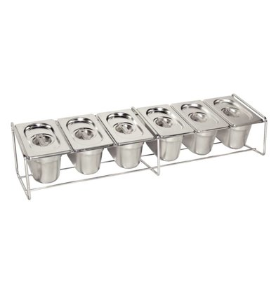 Vogue GN tray holder Stainless steel - Suitable for 6 x 1/9 - GN 4x 1/6 - GN, 2x 1/3 - GN | 325x176mm