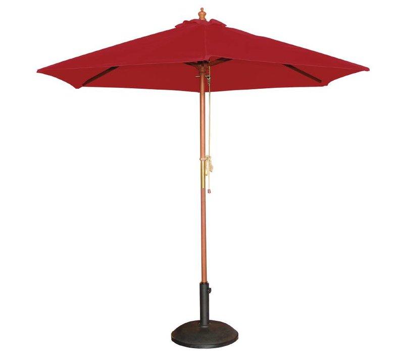 Bolero Parasol Rond met Katrolmechanisme - Kleur Rood - 3 meter Ø