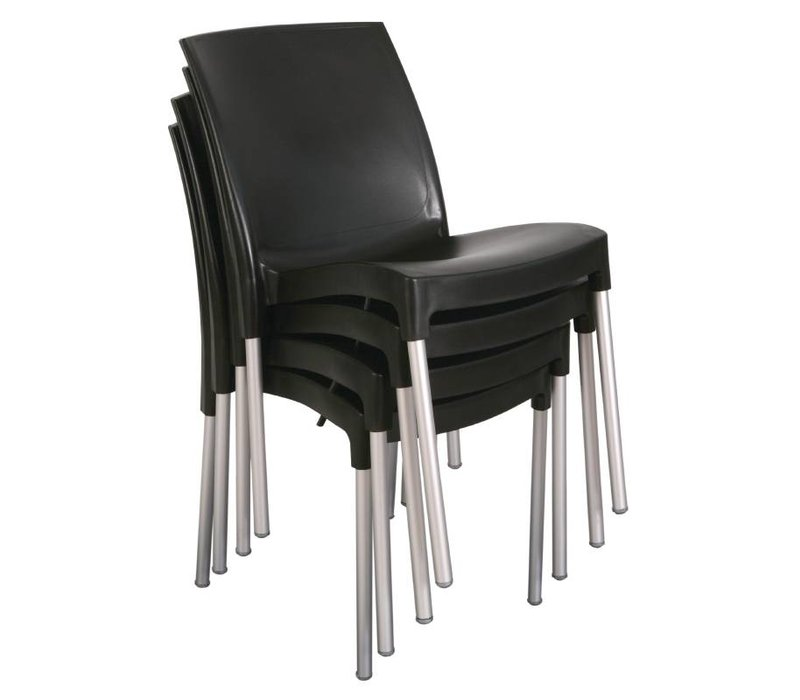 Bolero Stackable Plastic Chair Strong Black - Price per 4 pieces