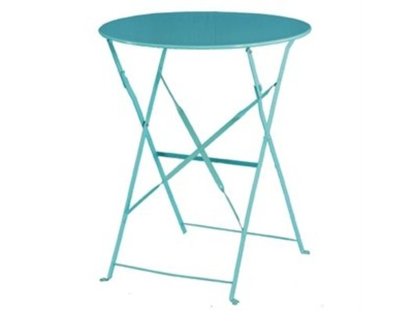 Bolero Hinged Steel Round Table Blue - 71 (H) x60 (Ø) cm