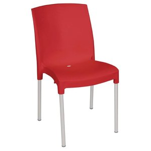 Bolero Stacking Chair Strong Plastic Red - Price per 4 pieces