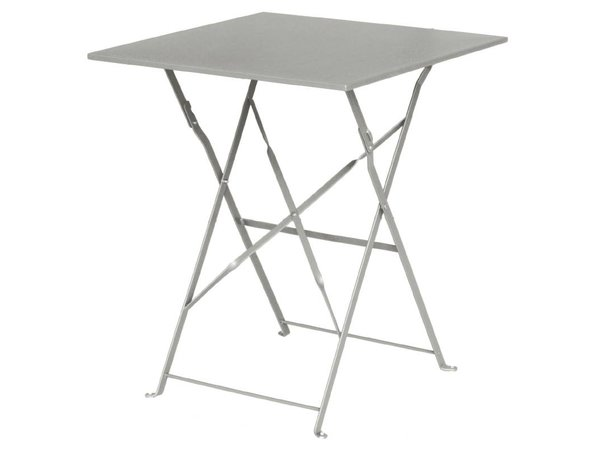 Bolero Hinged Steel Grey Square Table - 71 (H) x60x60cm