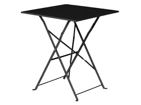 Bolero Opklapbare Stalen Vierkante Tafel Zwart - 71(H)x60x60cm