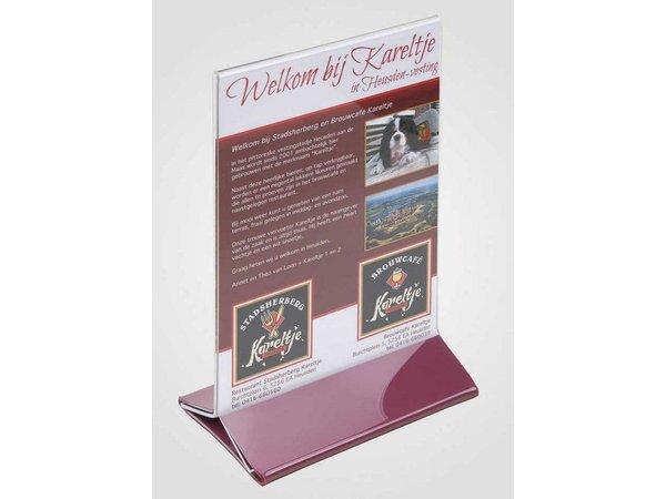 XXLselect Teller Tisch A5 - Transparent Bordeaux Fuß