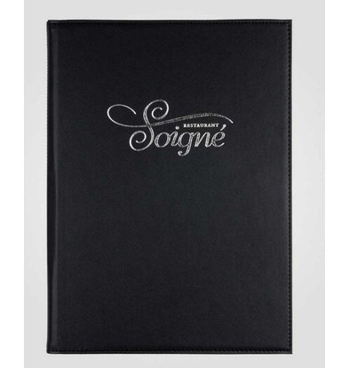 XXLselect Simi-leather menu folder - High-quality leatherette - black A4 - 4 Reading Pages