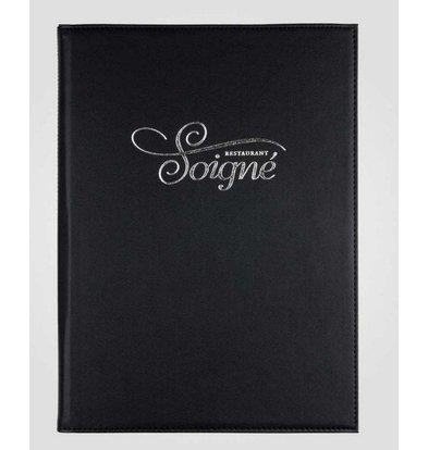 XXLselect Simi-Leder Menü-Ordner - hochwertiges Kunstleder - schwarz A4 - 4 Lese Seiten
