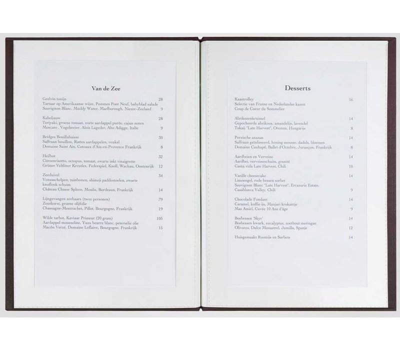 XXLselect Library Classic - Linnen Menukaarten - Vierkant Model 21x21cm - Bordeaux