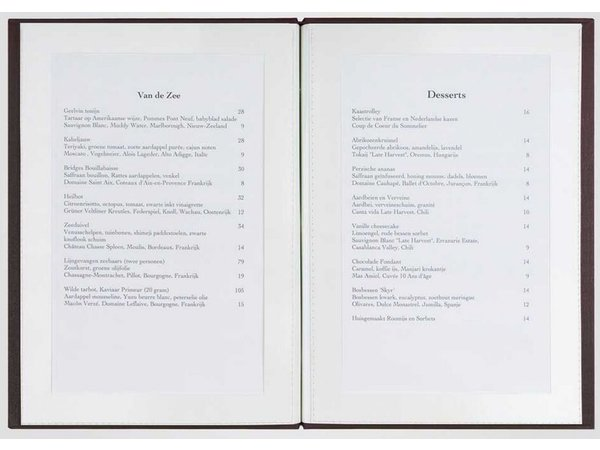 XXLselect Library Classic - Linnen Menukaarten - Vierkant Model 21x21cm - Zwart