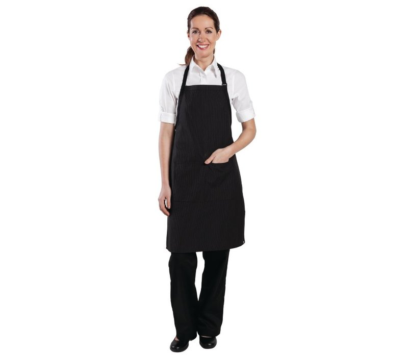 XXLselect Chefworks krijtstreep halterschort - 610(B) x 850(L) mm - Zwart - Unisex