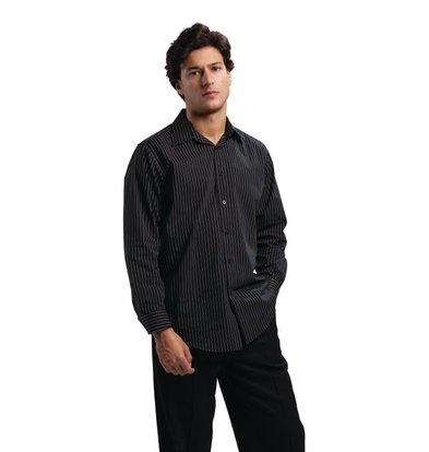 XXLselect Uniform Works Nadelstreifen Langarm-Polyester-Baumwoll-Shirt - Erhältlich in 4 Größen