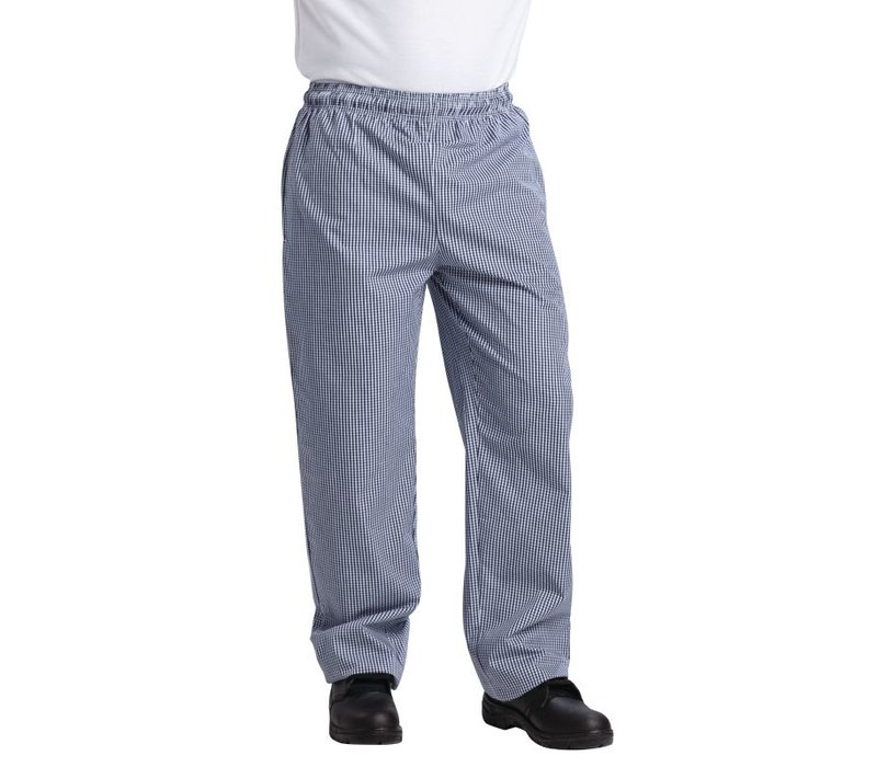 XXLselect Vegas Chefs Trousers Blue / White Checkered - Polyester-Cotton - Available in 6 sizes - Unisex - POPULAR!