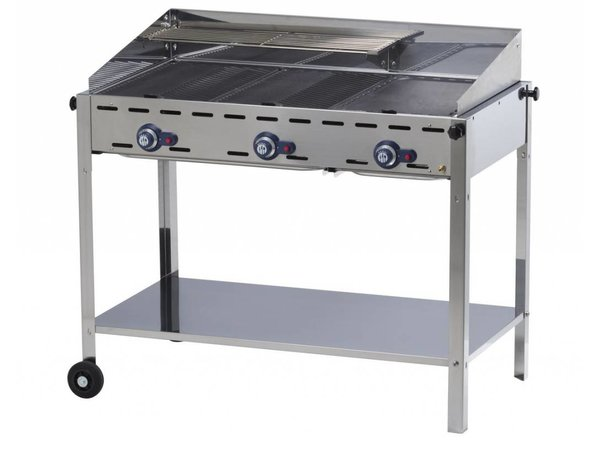 Hendi Hendi Green Fire Barbecue 3 Gasbranders XL + Wielen | BBQ Professioneel 1078x612x(h)825 mm | BEKIJK VIDEO