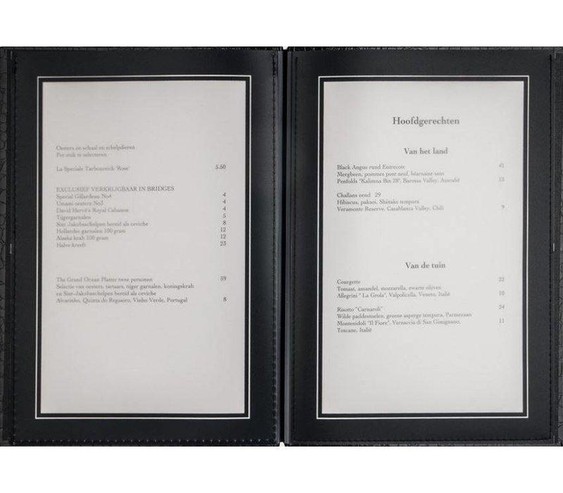 XXLselect Menukaart Library Croco - Zwart A4
