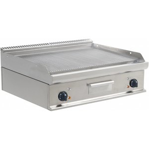 Saro Fry Top Electric Tabletop Casta - Ribbed - 80x70x (h) 27cm - 400V / 10,8kW