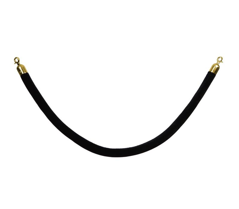 Saro Afzetkoord voor Afzetpaal - 1,5 meter - Velours Zwart - Goud