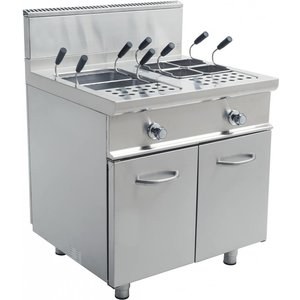 Saro Pasta Cooker Gas + 2x28 liter Mount Casta | Stainless steel | 22KW | 800x700x850mm