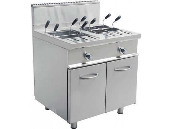 Saro Pasta Cooker Gas + 2x28 liter Mount Casta | Stainless steel | 22KW | 800x700x850mm