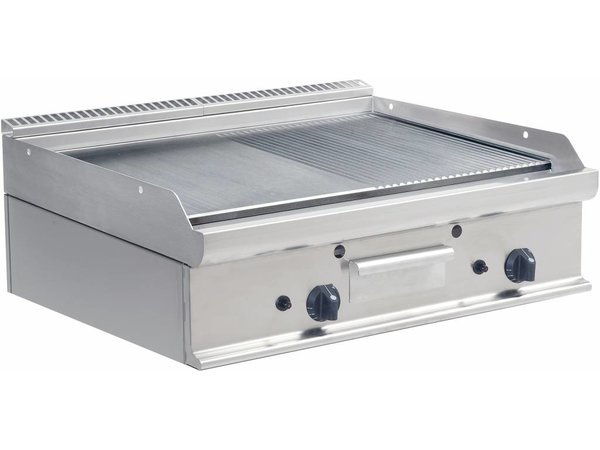 Saro Bakplaat Glad/Geribd Gas Tafelmodel Casta - 80x70x(H)27cm - 12kw