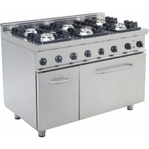 Saro Fornuis Gas 6 Branders met elektrische Oven 120 Liter Casta - 3 x 4,5KW + 3 x 7KW