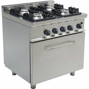 Saro Fornuis Gas 4 Branders met Gas Oven 120 Liter Casta - 2 x 4,5KW + 7,5KW