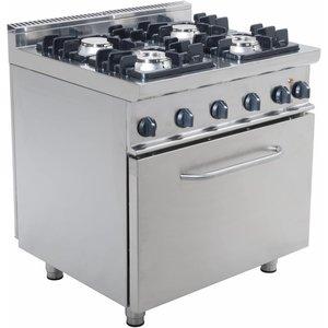 Saro Fornuis Gas 4 Branders met elektrische Oven 120 Liter Casta - 2 x 4,5KW + 7,5KW