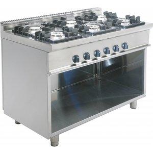 Saro Gas stove 6 burners Open Frame Casta - 3 x 4.5 x 7.5 kW + 3 KW