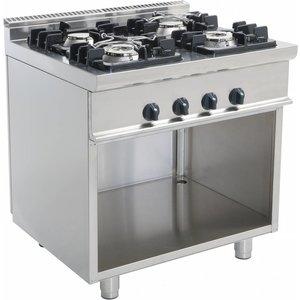Saro Gas stove 4 Burners Open Frame Casta   2 x 4.5 kW + 2 x 7.5 KW   80x70x (h) 85cm