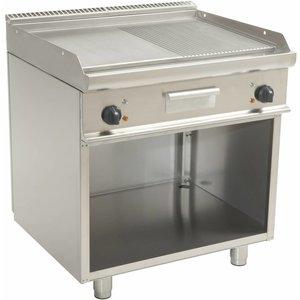 Saro Bakplaat Elektrisch Open Onderstel Casta - Glad/Geribd - 80x70x(h)85cm - 400V/10,4kW