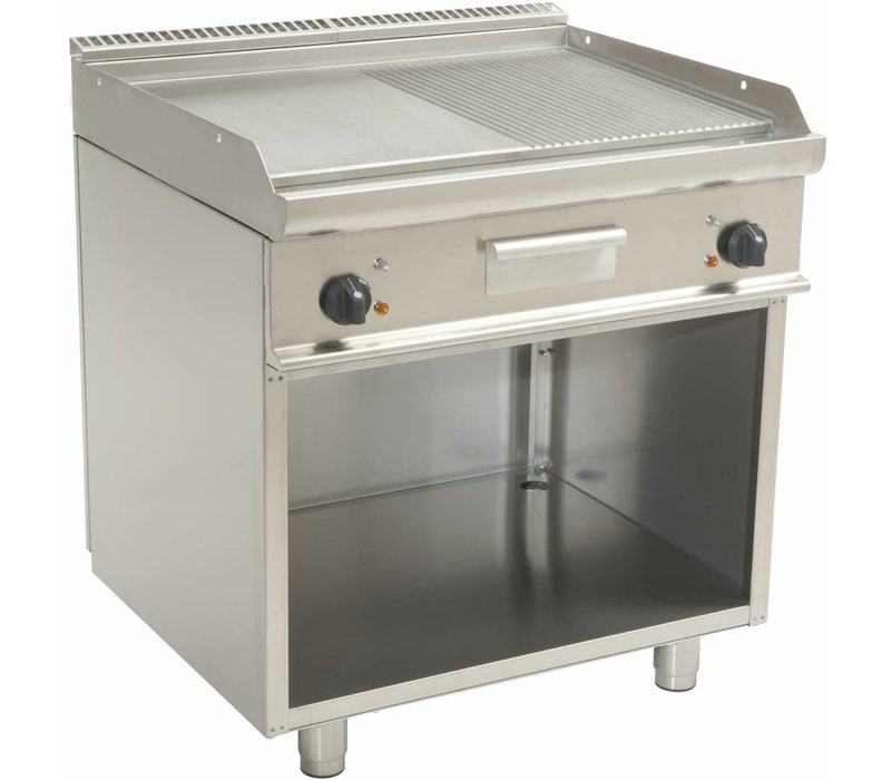 Saro Fry Top Electric Open Frame Casta - Smooth / Ribbed - 80x70x (h) 85cm - 400V / 10,4kW