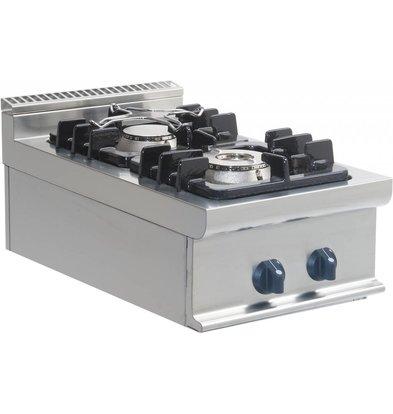 Saro Fornuis Gas 2 Branders Tafelmodel Casta | 4,5 KW + 7,5 KW | 400x700x(h)275mm