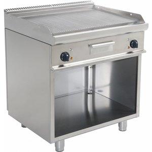 Saro Bakplaat Elektrisch Open Onderstel Casta - Geribd - 80x70x(h)85cm - 400V/10,4kW