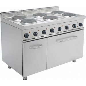 Saro Electric Stove 6 burners + Electric Oven 120 Liter | 6 x 2.6 KW | 400V | 1.200x700x (H) 850mm