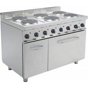 Saro Elektrisch Fornuis 6 pits + Elektrische Oven 120 Liter   6 x 2,6 KW   400V   1.200x700x(H)850mm